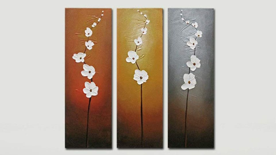 3 Piece White Flower Oil Painting on Canvas