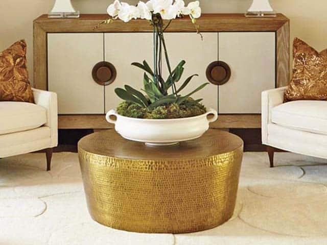 Taroudant Industrial Loft Hammered Brass Coffee Table