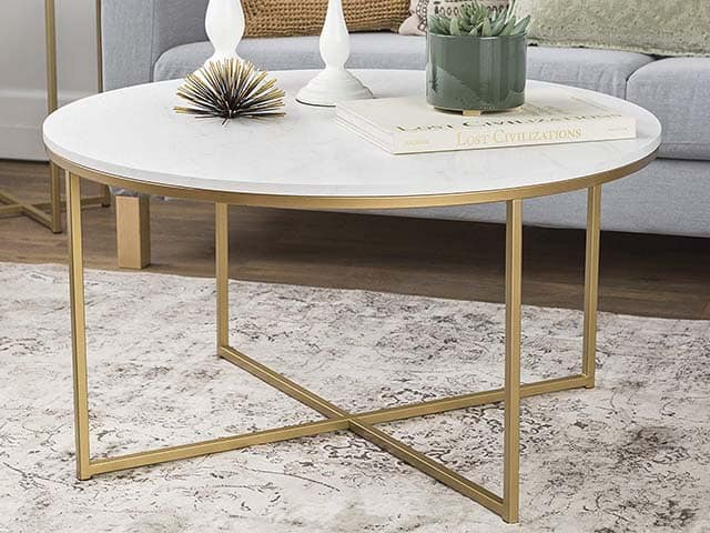 The 36 Inch Coffee Table With X Base Is Made Of High Grade Mdf Painted Metal And A Polished Faux Marble Top This Round An