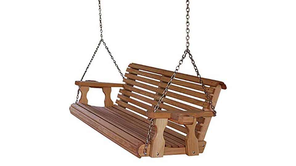 Wooden Porch Swing with Cup Holder