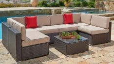 7-Piece Wicker Sectional Sofa Set