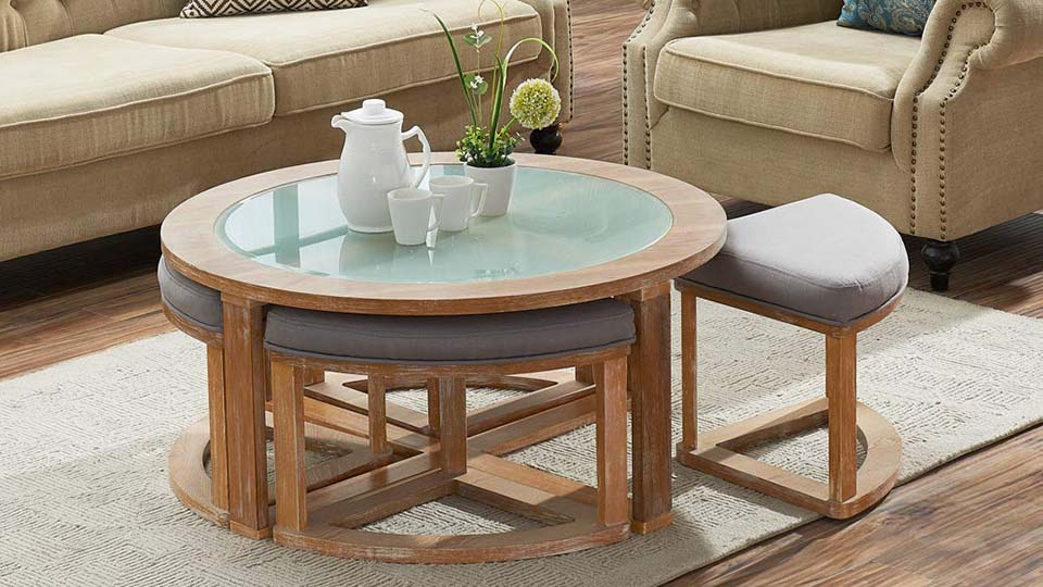 Round Coffee Table with Nesting Stools