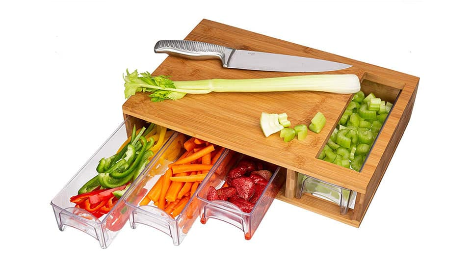 Bamboo Cutting Board with Trays