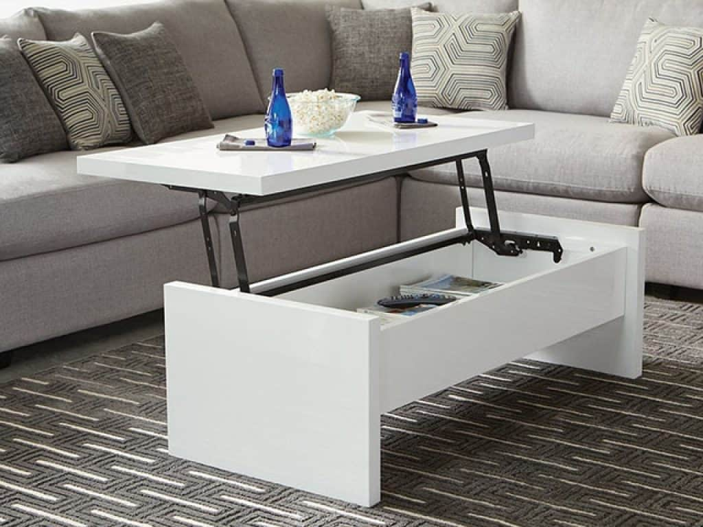 Benzara Glossy Lift Top Coffee Table