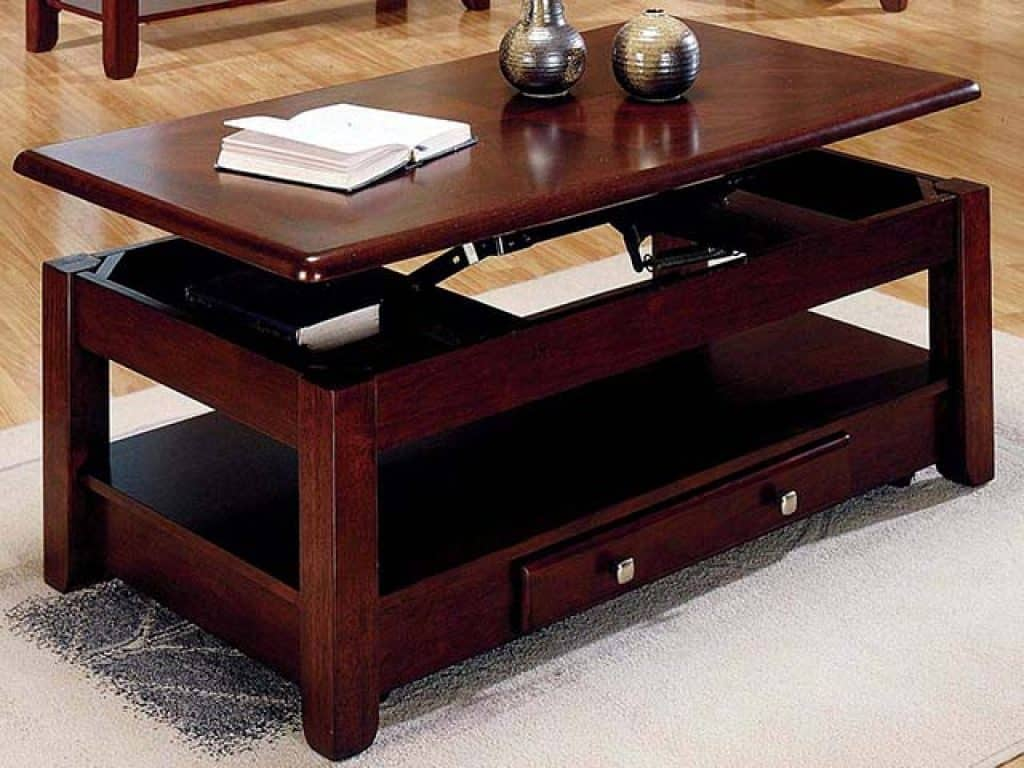 Rich Cherry Finish Lift-Top Coffee Table